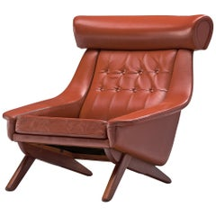 Illum Wikkelsø Lounge Chair 'Ox' in Red Leatherette
