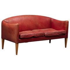 Illum Wikkelsø Model V12 Red Leather Loveseat