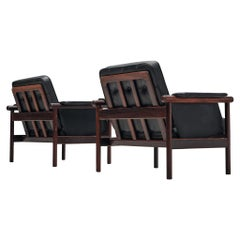 Illum Wikkelsø Pair of Lounge Chairs in Rosewood and Black Leather