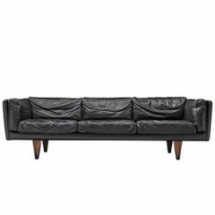 Illum Wikkelsø Restored and Patinated 'V11' Sofa in Black Leather