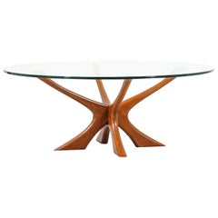 Illum Wikkelsø Sculpted Teak and Glass Coffee Table