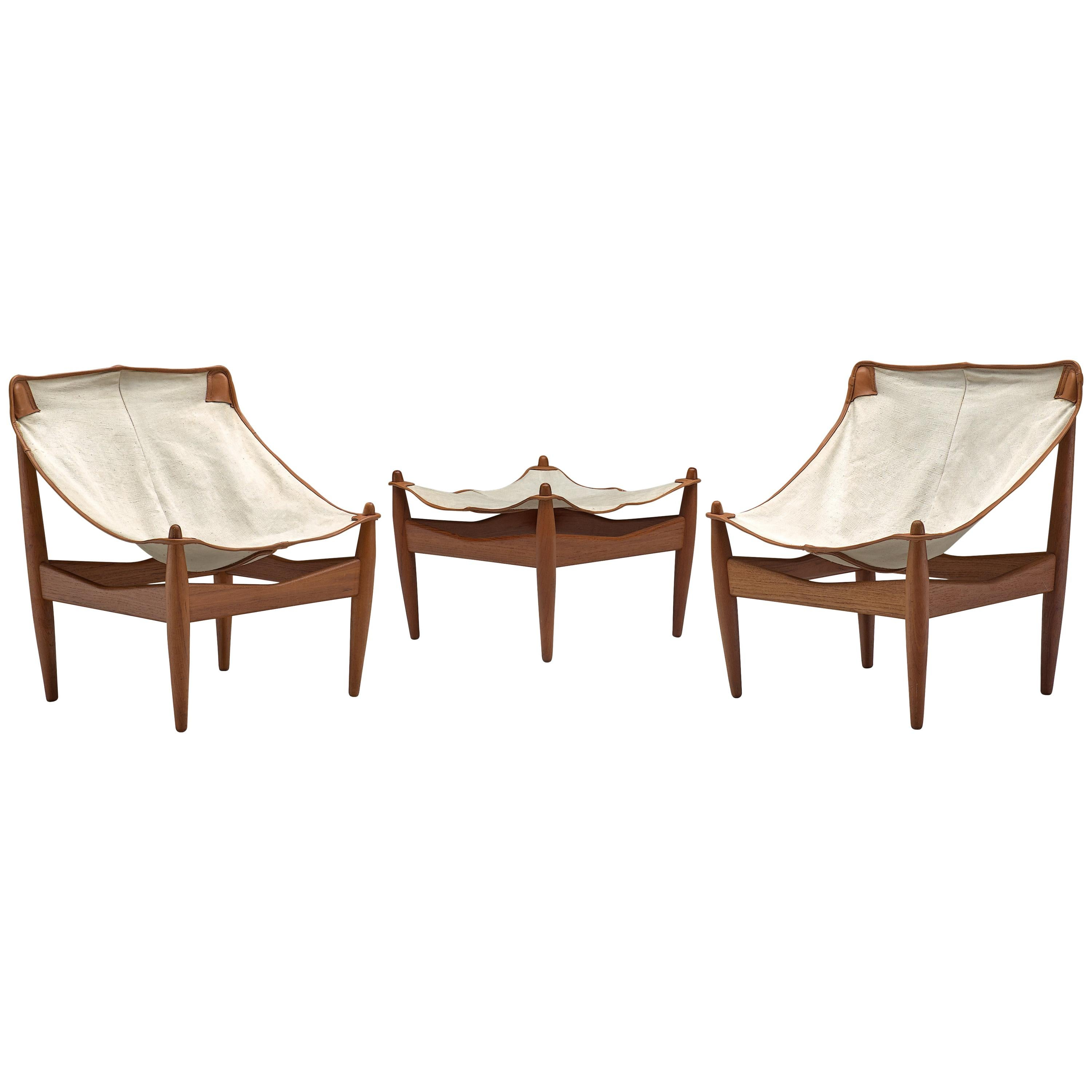 Illum Wikkelsø Set of Easy Chairs Model 272 and Ottoman with Canvas Seats