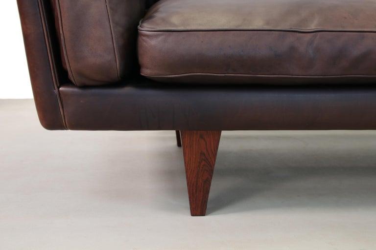 Leather Illum Wikkelsø Sofa Model V11 Produced by Holger Christiansen in Denmark, 1960s For Sale