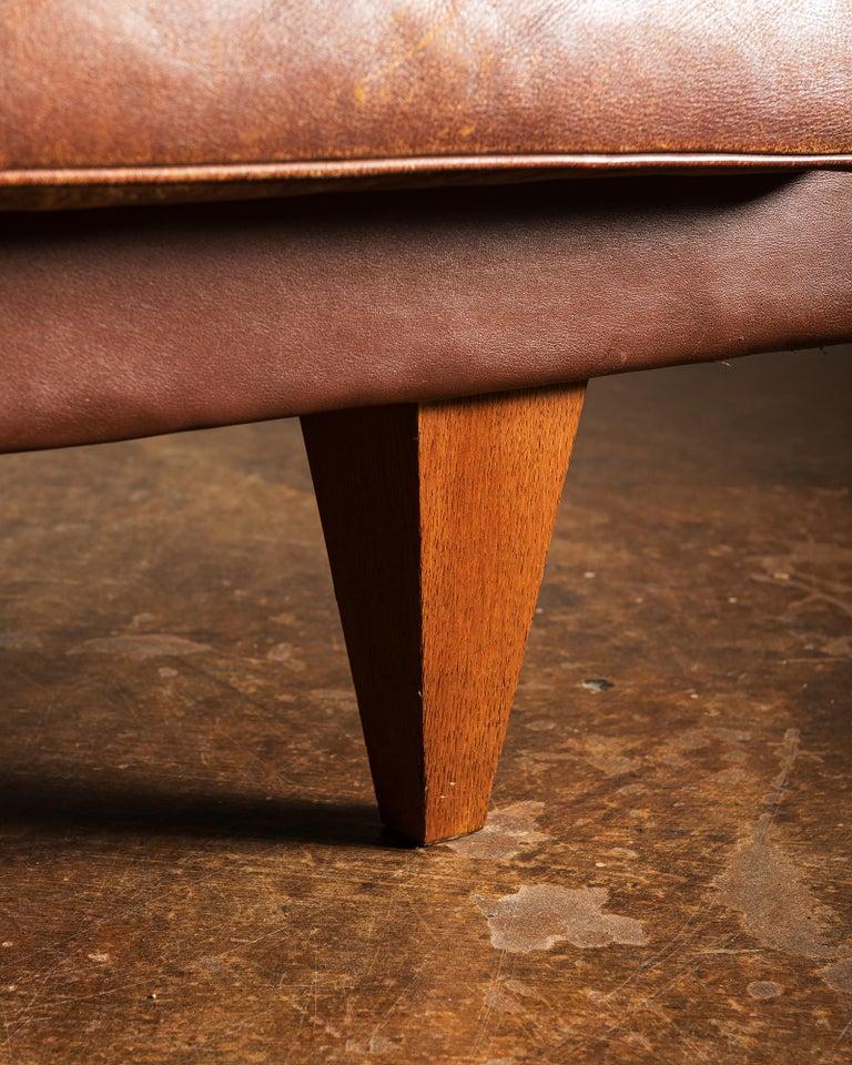 Illum Wikkelsø Sofa V11 in Brown Leather for Holger Christiansen, Denmark, 1960s For Sale 6