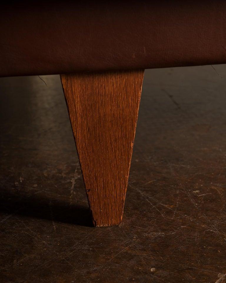 Illum Wikkelsø Sofa V11 in Brown Leather for Holger Christiansen, Denmark, 1960s For Sale 7