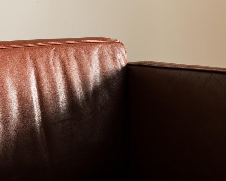 Illum Wikkelsø Sofa V11 in Brown Leather for Holger Christiansen, Denmark, 1960s For Sale 1