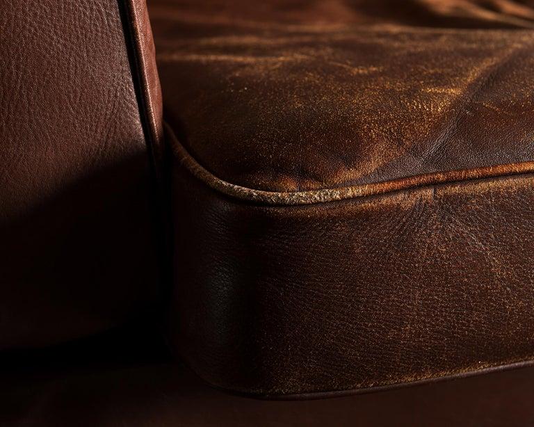 Illum Wikkelsø Sofa V11 in Brown Leather for Holger Christiansen, Denmark, 1960s For Sale 2