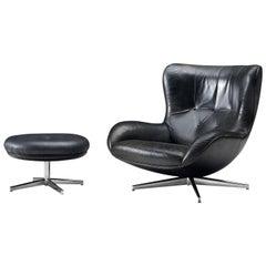 Illum Wikkelsø Swivel Lounge Chair ML214 with Ottoman in Black Leather