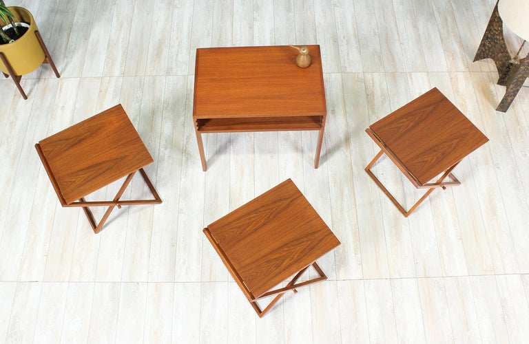 Illum Wikkelsø Table Set with Three Folding Side Table Trays For Sale 4