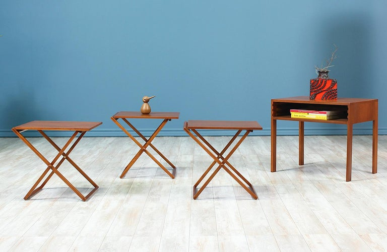 Mid Century Modern Illum Wikkelsø Table Set With Three Folding Side Trays For