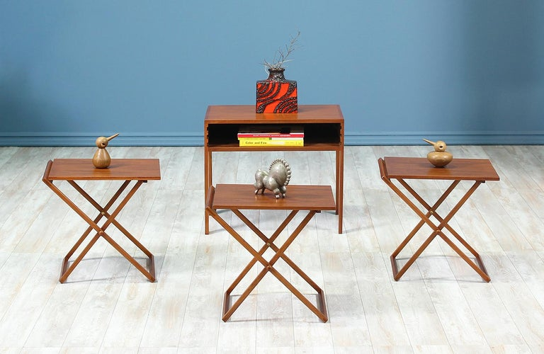 Danish Illum Wikkelsø Table Set with Three Folding Side Table Trays For Sale
