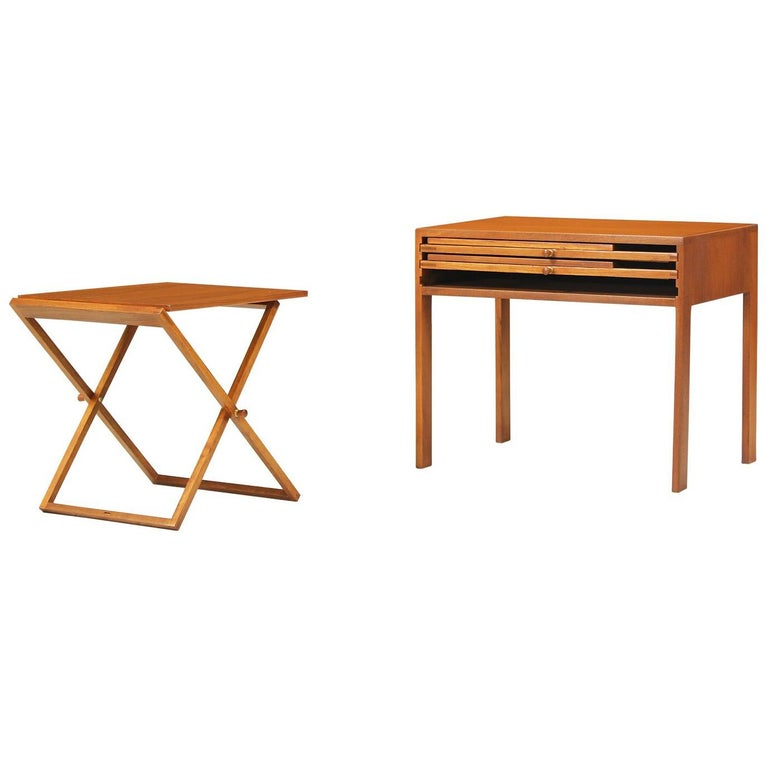 Illum Wikkelsø Table Set With Three Folding Side Trays For At 1stdibs