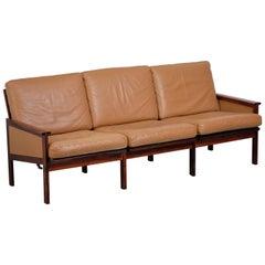Illum Wikkelsø Three-Seat Sofa in Rosewood, Danish Design, 1960s