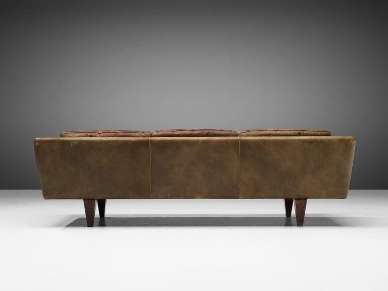 Illum Wikkelsø Three-Seat Sofa 'V11' in Brown Leather For Sale 6