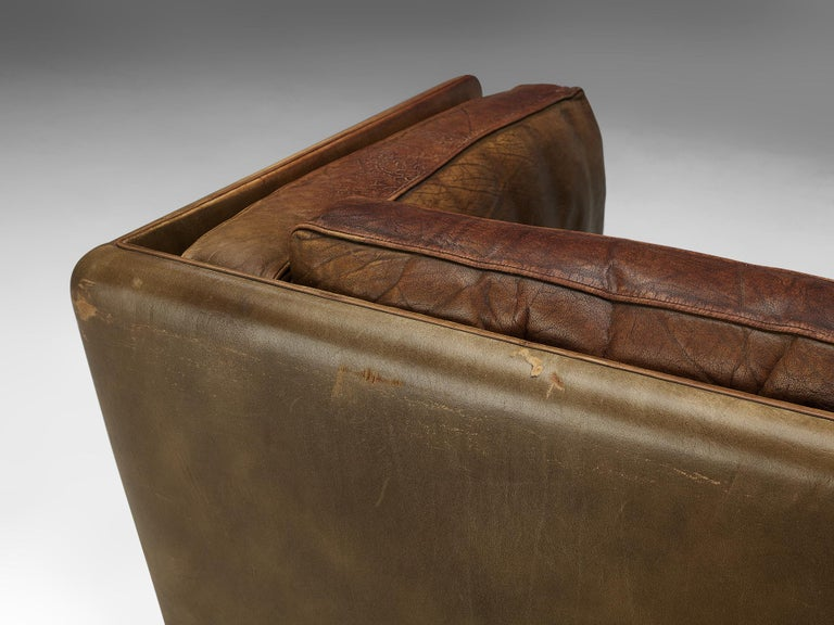 Illum Wikkelsø Three-Seat Sofa 'V11' in Brown Leather For Sale 7