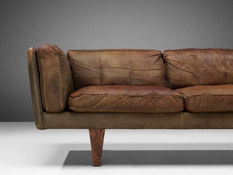 Danish Illum Wikkelsø Three-Seat Sofa 'V11' in Brown Leather For Sale