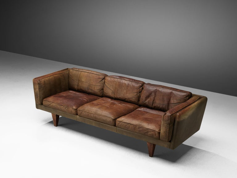 Illum Wikkelsø Three-Seat Sofa 'V11' in Brown Leather For Sale 1