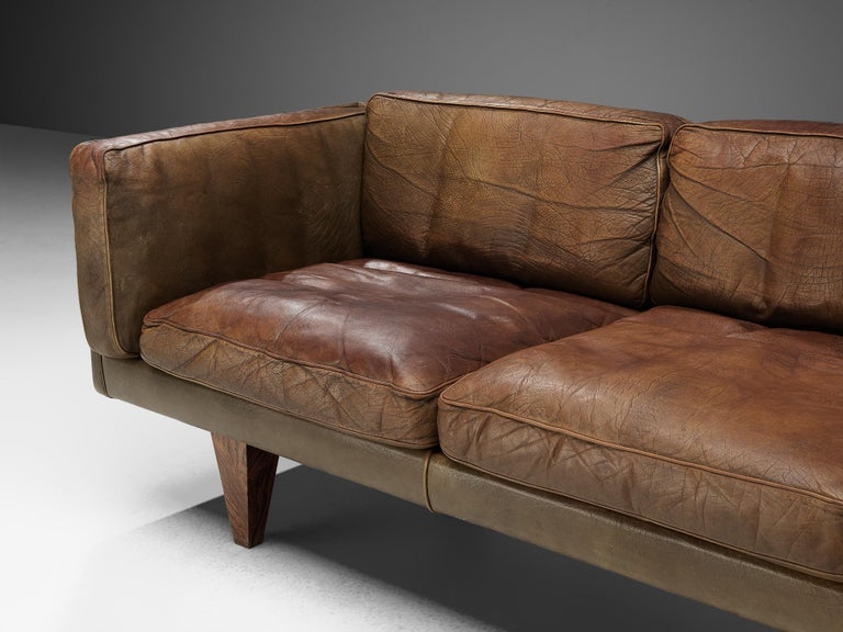 Illum Wikkelsø Three-Seat Sofa 'V11' in Brown Leather For Sale 3