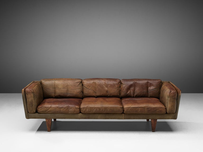 Illum Wikkelsø Three-Seat Sofa 'V11' in Brown Leather For Sale 4