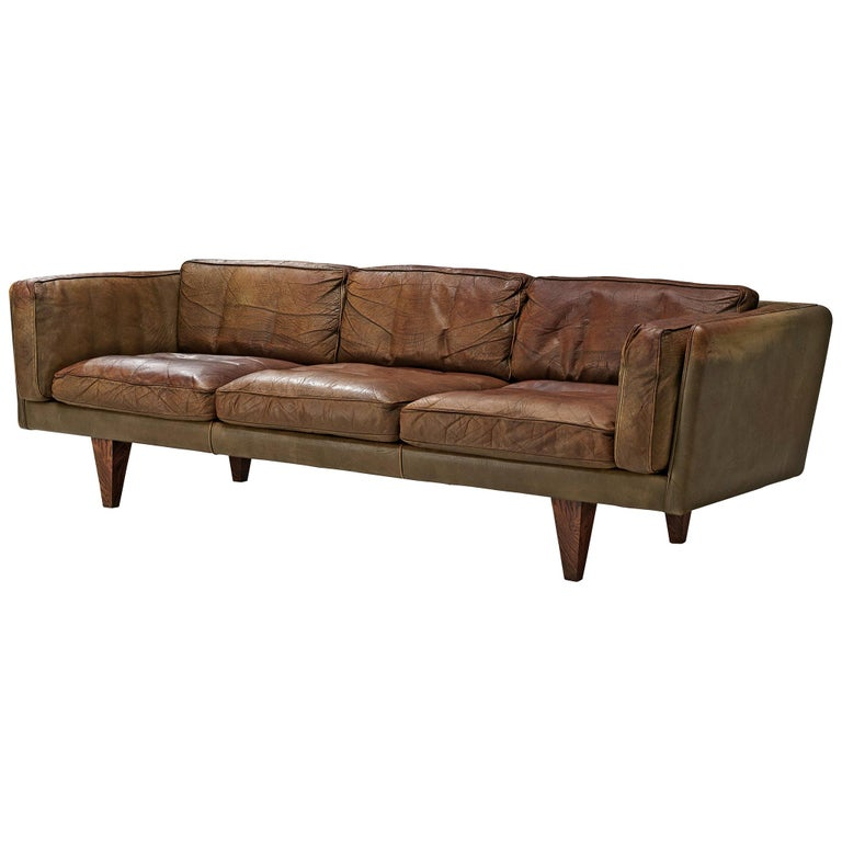 Illum Wikkelsø Three-Seat Sofa 'V11' in Brown Leather For Sale