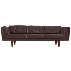 Illum Wikkelsø Three-Seat Sofa 'V11' in Dark Brown Leather