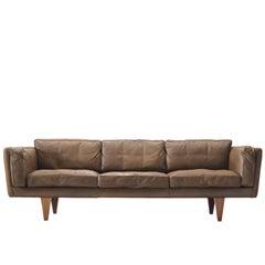 Illum Wikkelsø Three-Seat Sofa 'V11' in Light Brown Leather