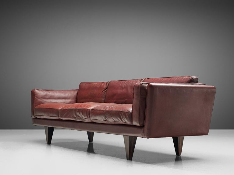 Danish Illum Wikkelsø Three-Seat Sofa in Burgundy Leather Fully Restored For Sale