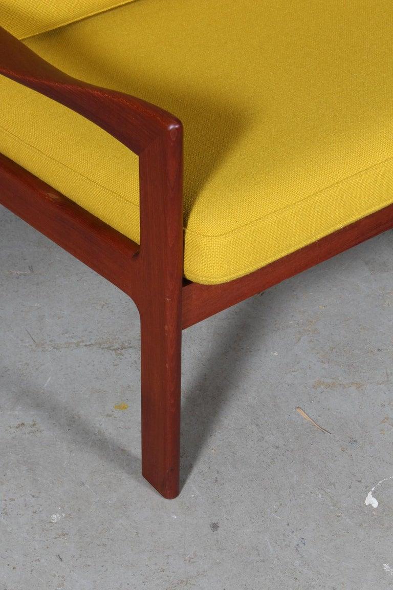 Scandinavian Modern Illum Wikkelsø Two Seat Sofa, Teak and Hallingdal For Sale