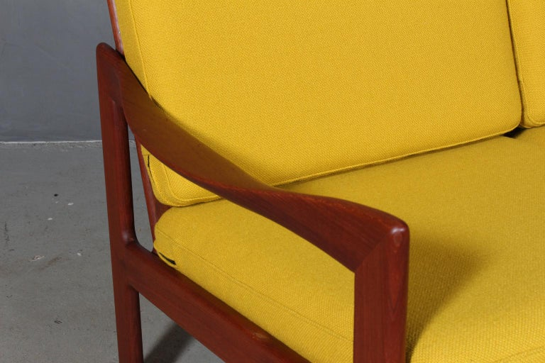 Danish Illum Wikkelsø Two Seat Sofa, Teak and Hallingdal For Sale