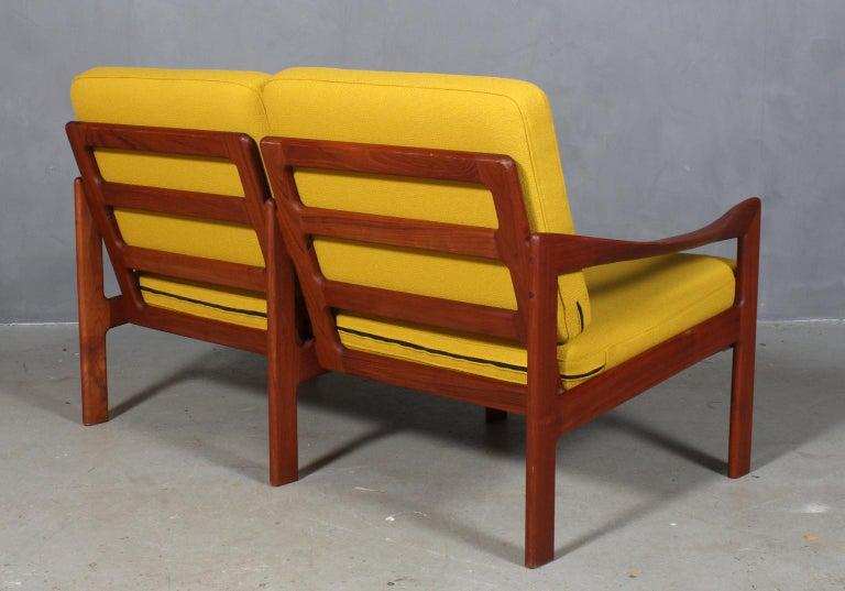 Wool Illum Wikkelsø Two Seat Sofa, Teak and Hallingdal For Sale