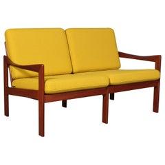 Illum Wikkelsø Two Seat Sofa, Teak and Hallingdal