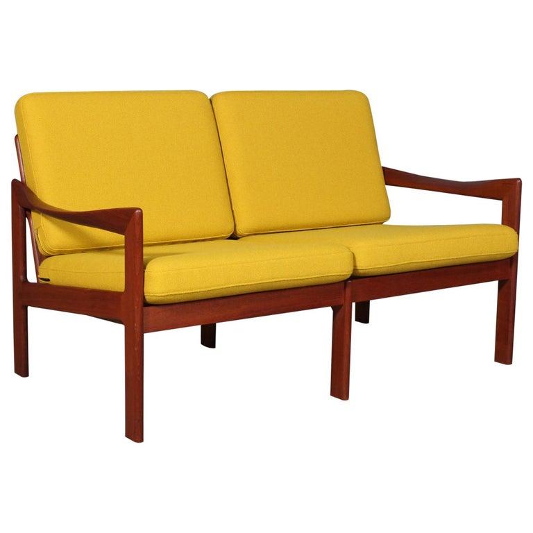 Illum Wikkelsø Two Seat Sofa, Teak and Hallingdal For Sale