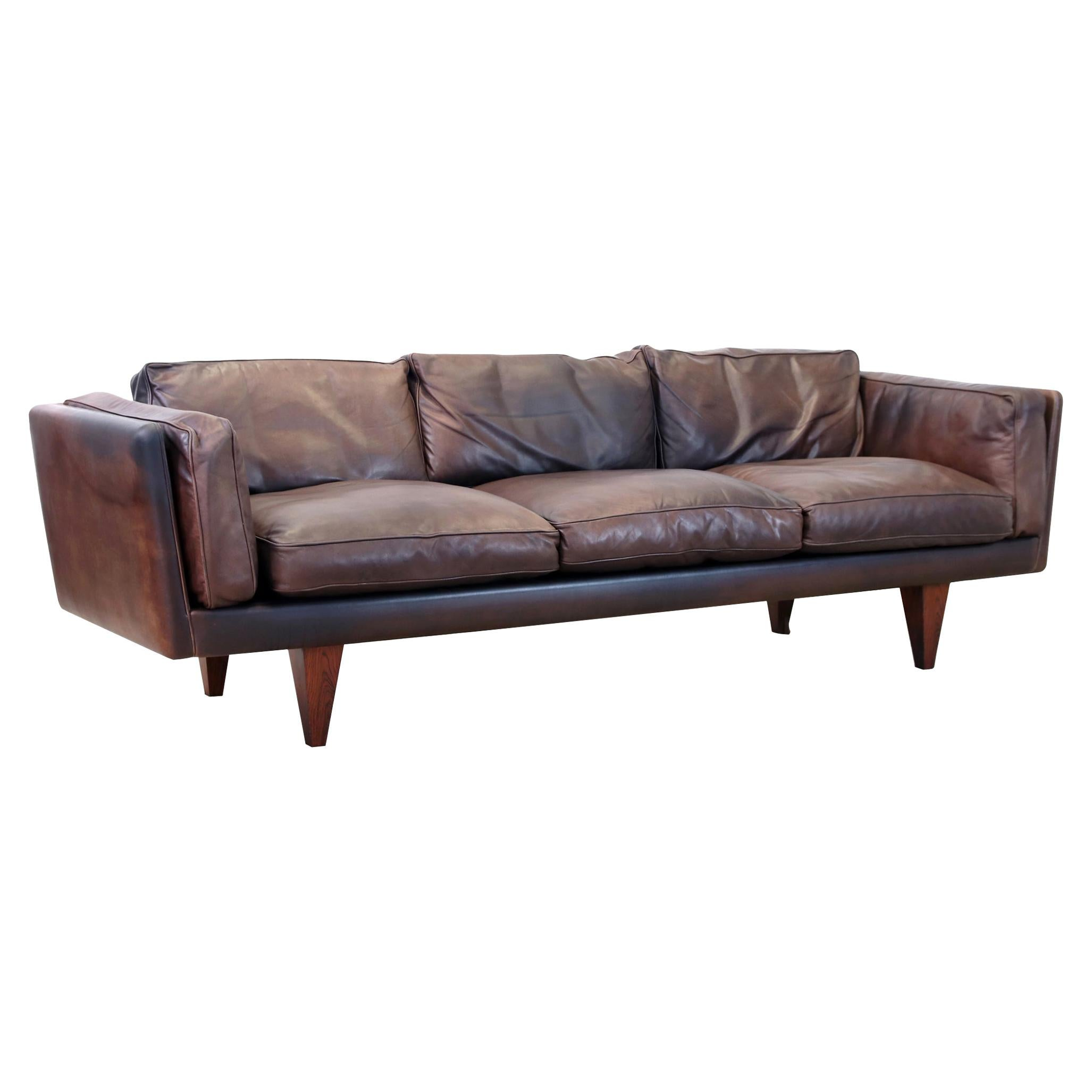 Illum Wikkelsø V11 Brown Leather Three-seat Sofa for Holger Christiansen, 1960s