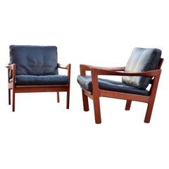 Illum Wikkelsø Wikkelsoe Leather Armchair Chair black Niels Eilersen Set of 2