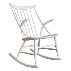 Illum Wikkelso Danish Gyngestol Rocking Chair in White