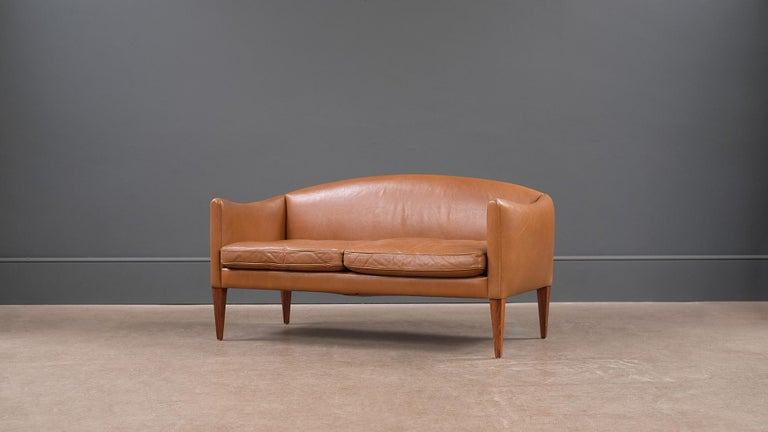 Scandinavian Modern Illum Wikkelso Leather Loveseat Sofa For Sale