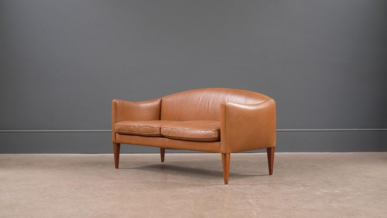 Danish Illum Wikkelso Leather Loveseat Sofa For Sale
