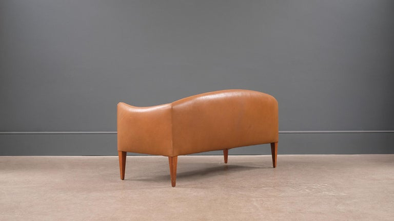 20th Century Illum Wikkelso Leather Loveseat Sofa For Sale