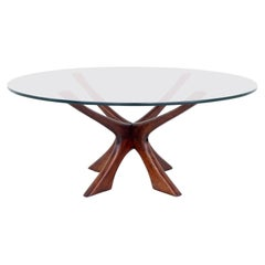 Illum Wikkelso Mid Century Walnut and Glass Coffee Table