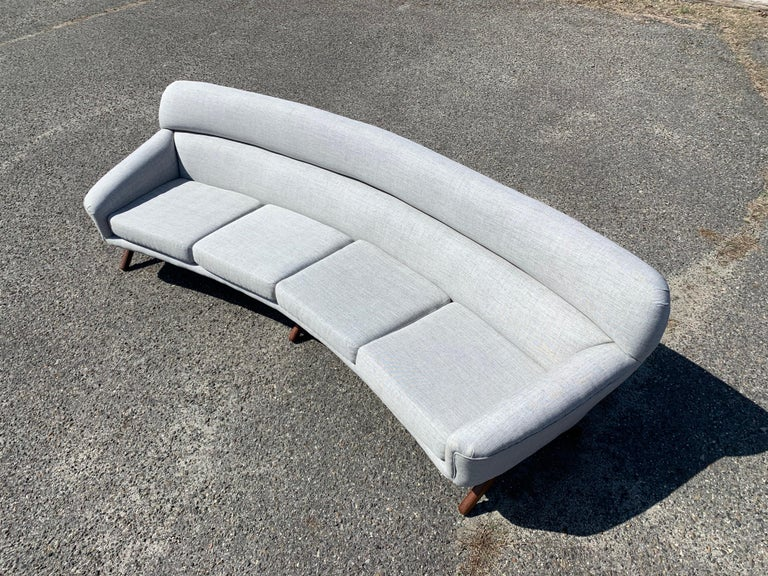 """Illum Wikkelsø-Mikael Laursen 105"""" 4-seat sofa having 3 sets of teak legs. Masterfully reupholstered as needed. Outstanding overall condition. Original receipt and letter of ownership are included."""