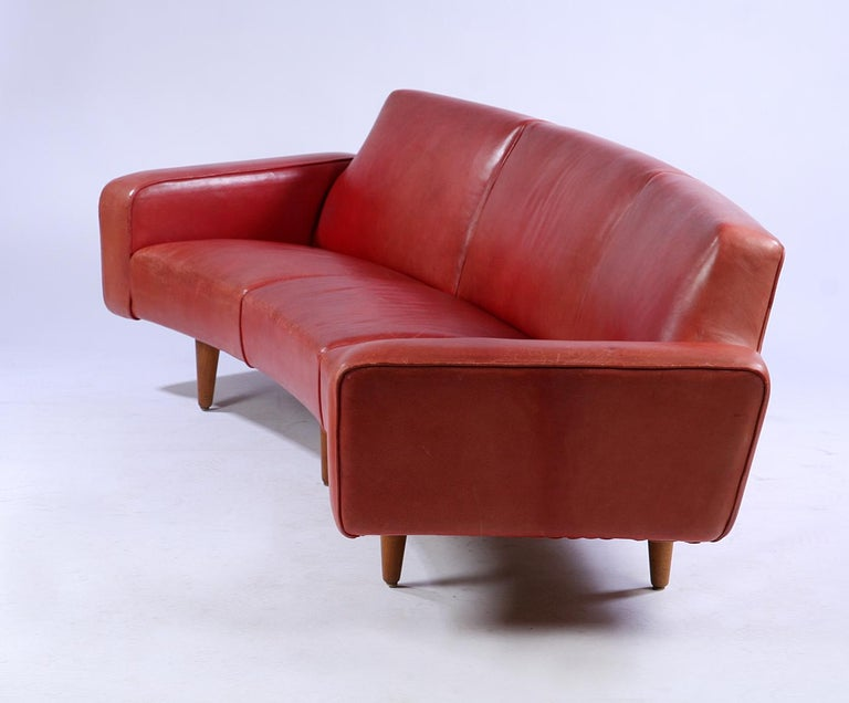 Illum Wikkelso Red Leather Sofa And Coffee Table Circa