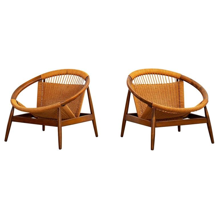 Illum Wikkelsø for Niels Eilersen Ringstol lounge chairs, 1950s, offered by Orange Furniture