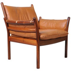 Illum Wikkelso, Rosewood and Leather, Lounge Chair