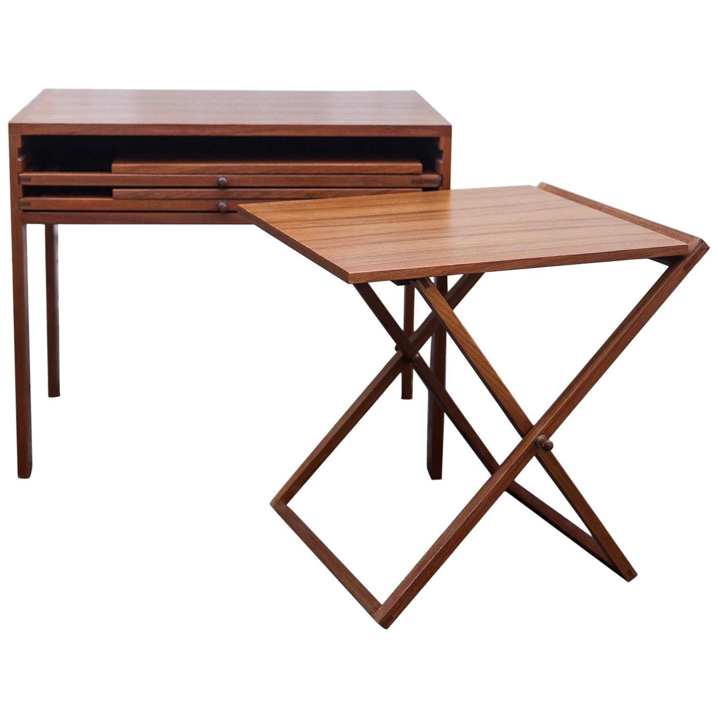 Illum Wikkelso Teak Folding Table, 1960s