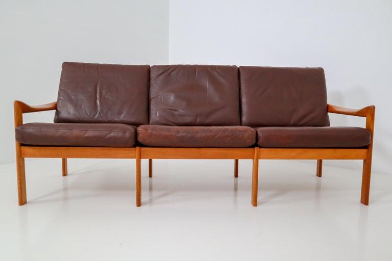 Scandinavian Modern Illum Wikkelso Three-Seat Teak Sofa, Danish, 1960s, Produced by Eilersen