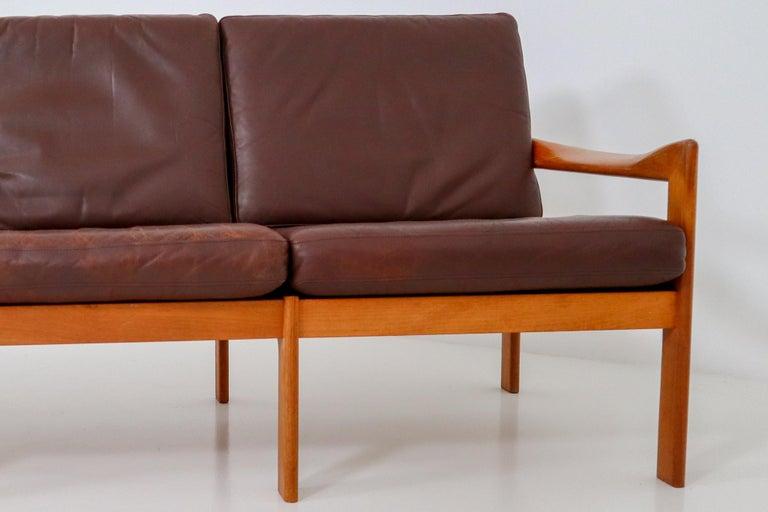 Mid-20th Century Illum Wikkelso Three-Seat Teak Sofa, Danish, 1960s, Produced by Eilersen