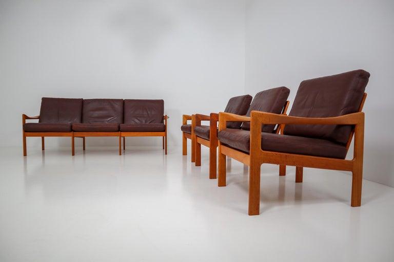 Leather Illum Wikkelso Three-Seat Teak Sofa, Danish, 1960s, Produced by Eilersen