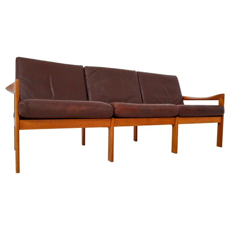 Illum Wikkelso Three-Seat Teak Sofa, Danish, 1960s, Produced by Eilersen