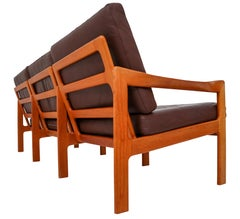 Illum Wikkelso Three-Seat Teak Sofa, Danish, 1960s, Produced by Eilersen