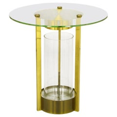 Illuminated Brass and Glass Cylindrical End Table, Dorothy Thorpe, Attributed